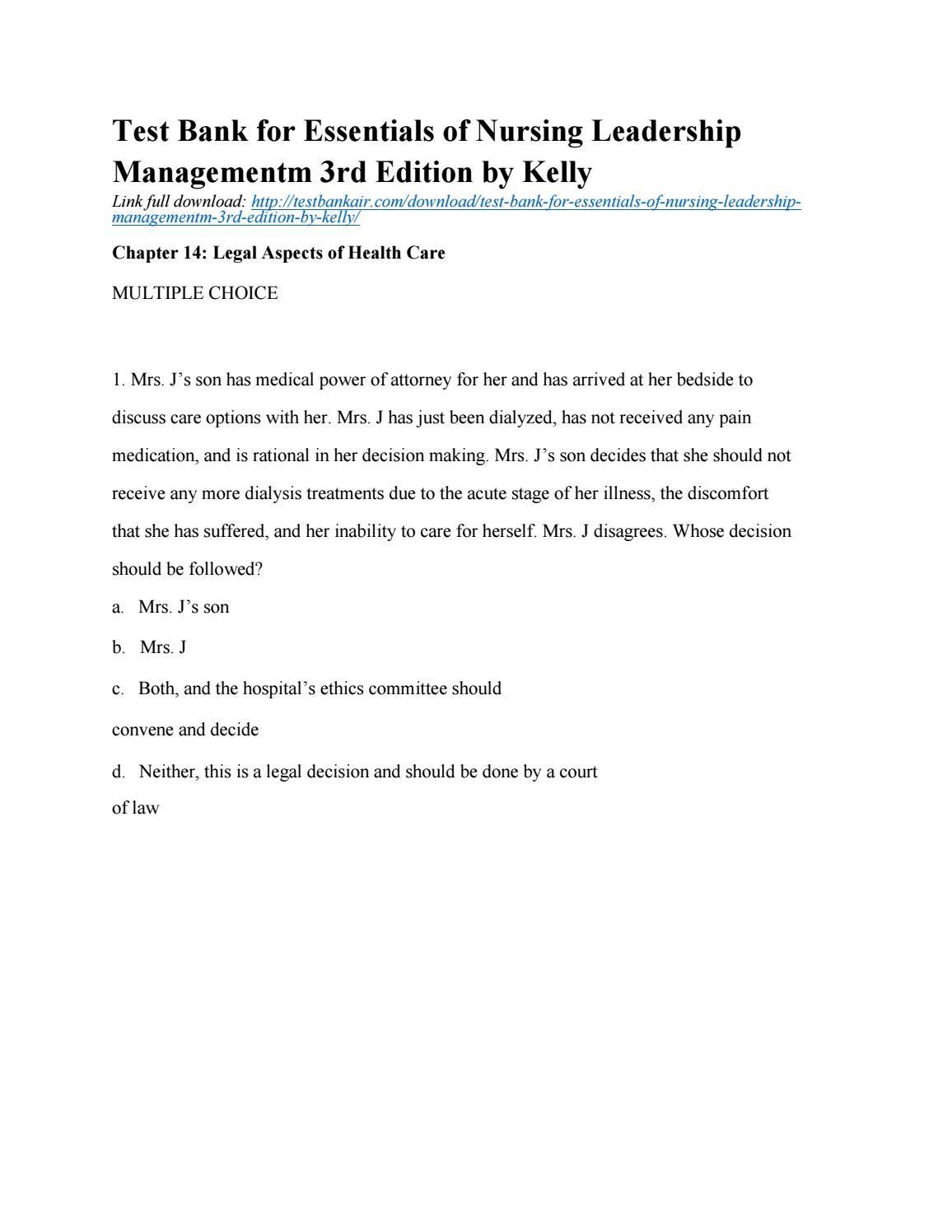 Download test bank for essentials of nursing leadership management ...