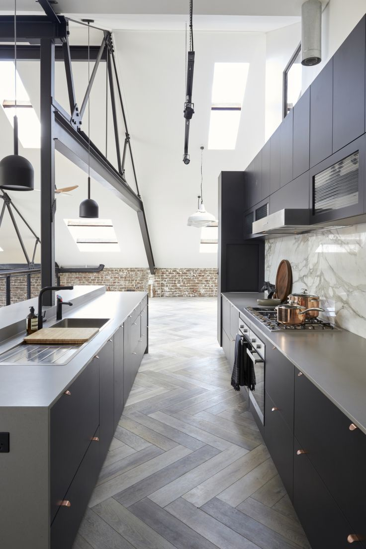 The Blocku0027s Julian Cress At Home With His Industrial Warehouse Conversion  Caesarstone Sleek Concrete Kitchen By