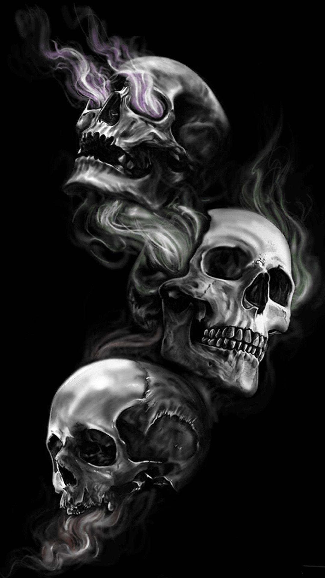 62 Badass Skull Wallpapers On Wallpaperplay Skull Wallpaper Iphone Skulls Drawing Black Skulls Wallpaper