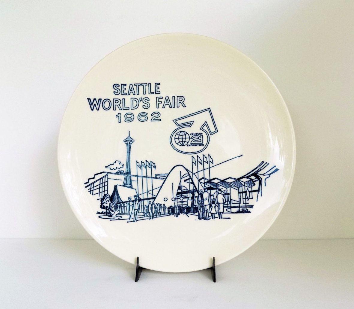 mid century Seattle World Fair 1962 plate