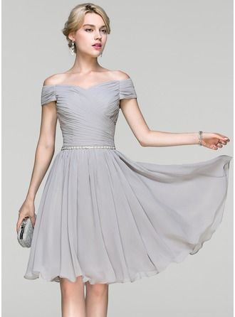 A-Linie/Princess-Linie Off-the-Schulter Knielang Chiffon ...