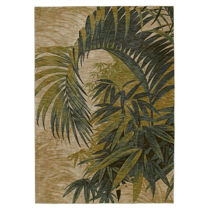 "TOMMY BAHAMA / Polynesian Palms Rug In Biege / 5'5"" X 7'9"