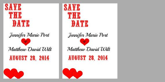Printable Save The Date Card Hearts love save the by Taylorued, $9.99