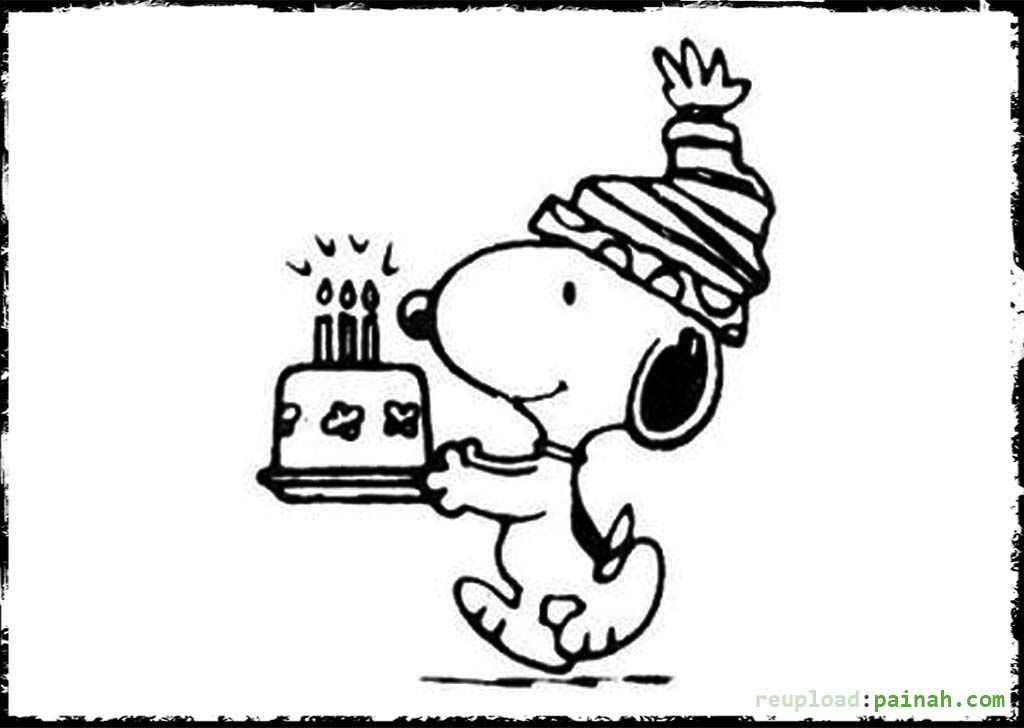 Snoopy Coloring Pages Happy Birthday
