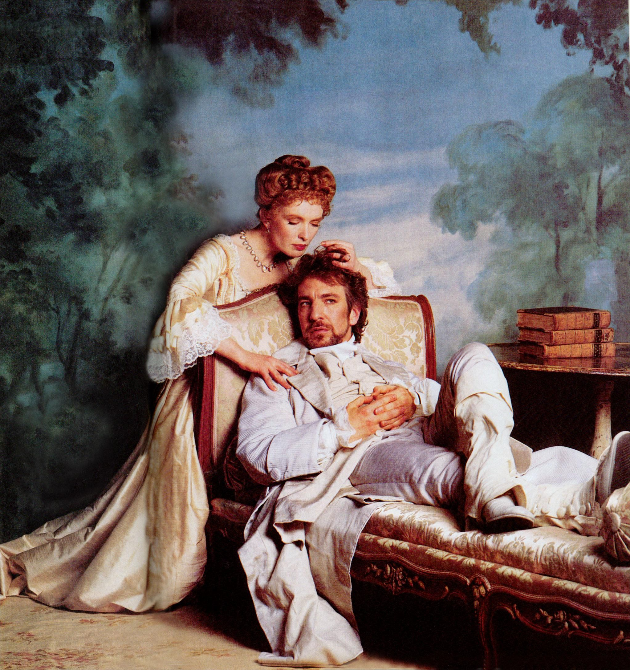 Lindsay Duncan (Marquise de Merteuil) et Alan Rickman (Valmont) dans Les Liaisons Dangereuses