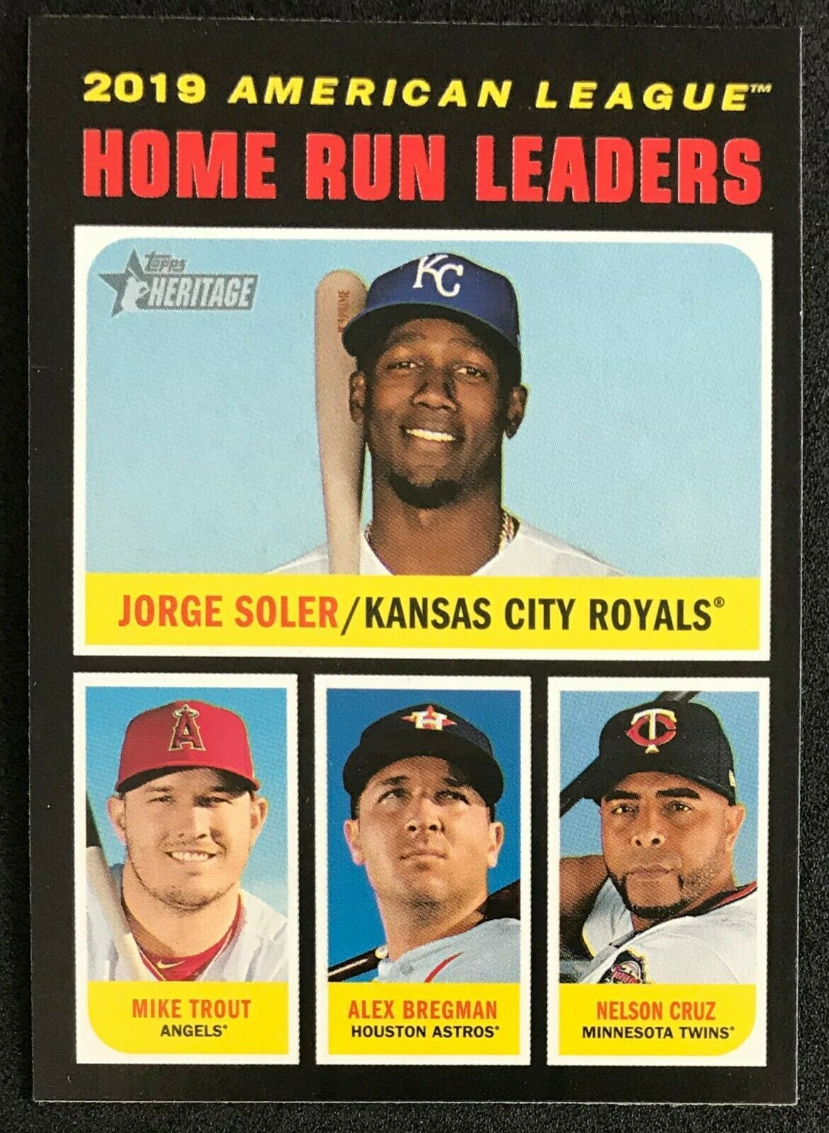 2020 Topps Heritage Al Home Run Leaders French Ssp Variation Mike Trout 65 In 2020 Mike Trout Homerun Trout