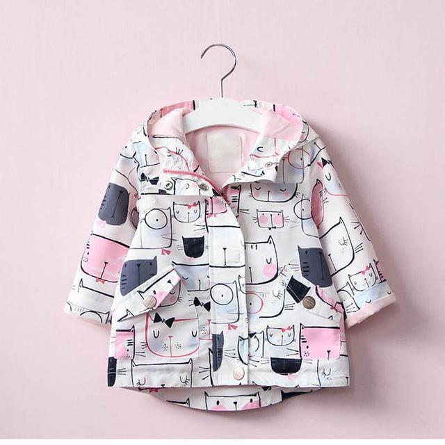 5f1f737f6 Girls Jackets for baby girls coat hooded long jacket cats children  windbreaker windproof outerwear waterproof