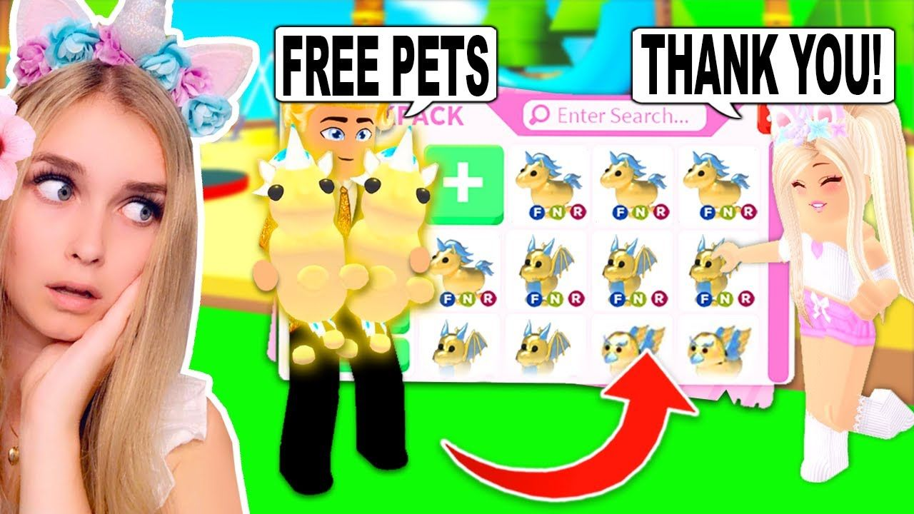 This Millionaire Gave Me Free Golden Pets In Adopt Me Roblox In 2020