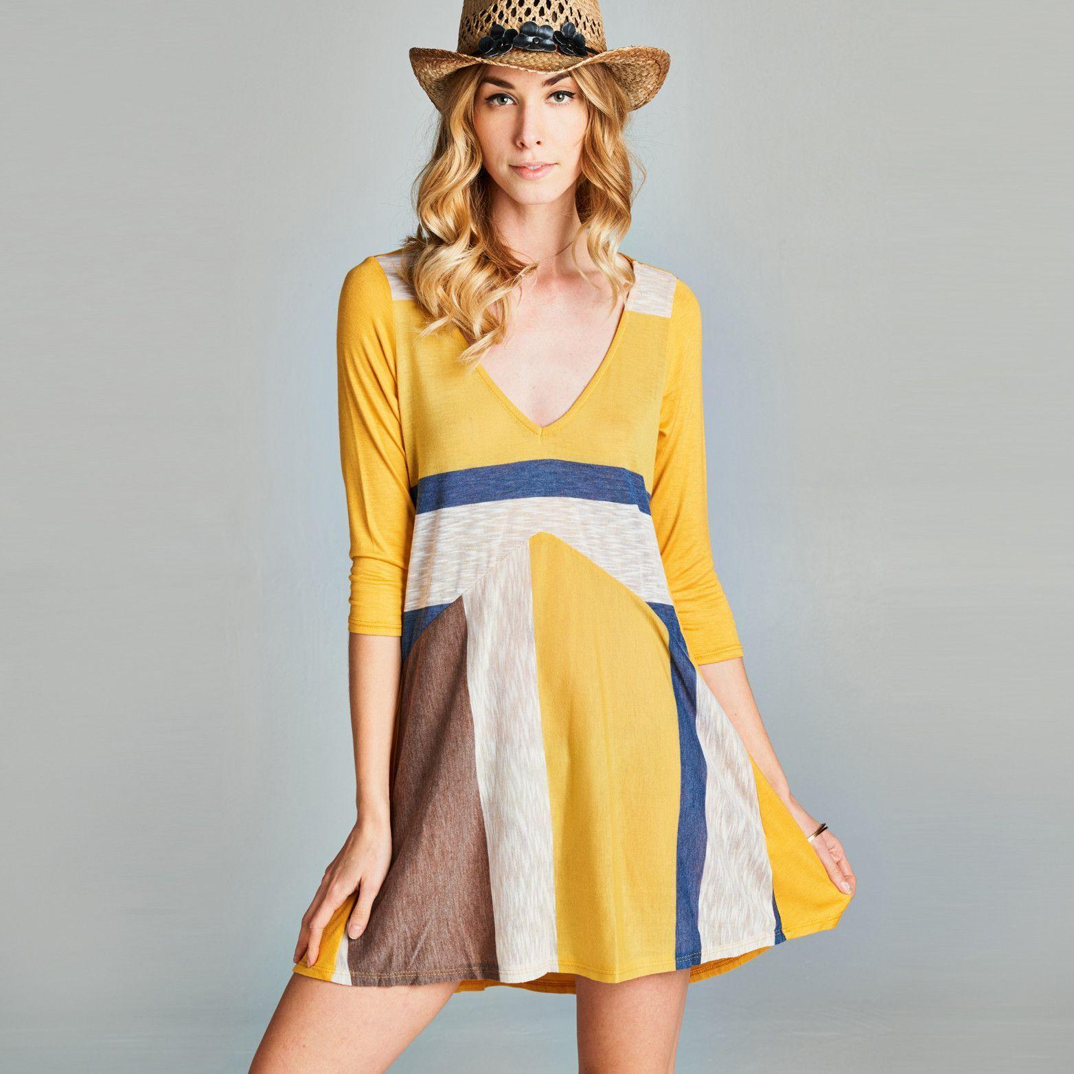 V-Neck Colorblock Swing Dress