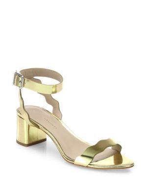 LOEFFLER RANDALL Emi Scallop Metallic Leather Block-Heel Sandals. #loefflerrandall #shoes #sandals