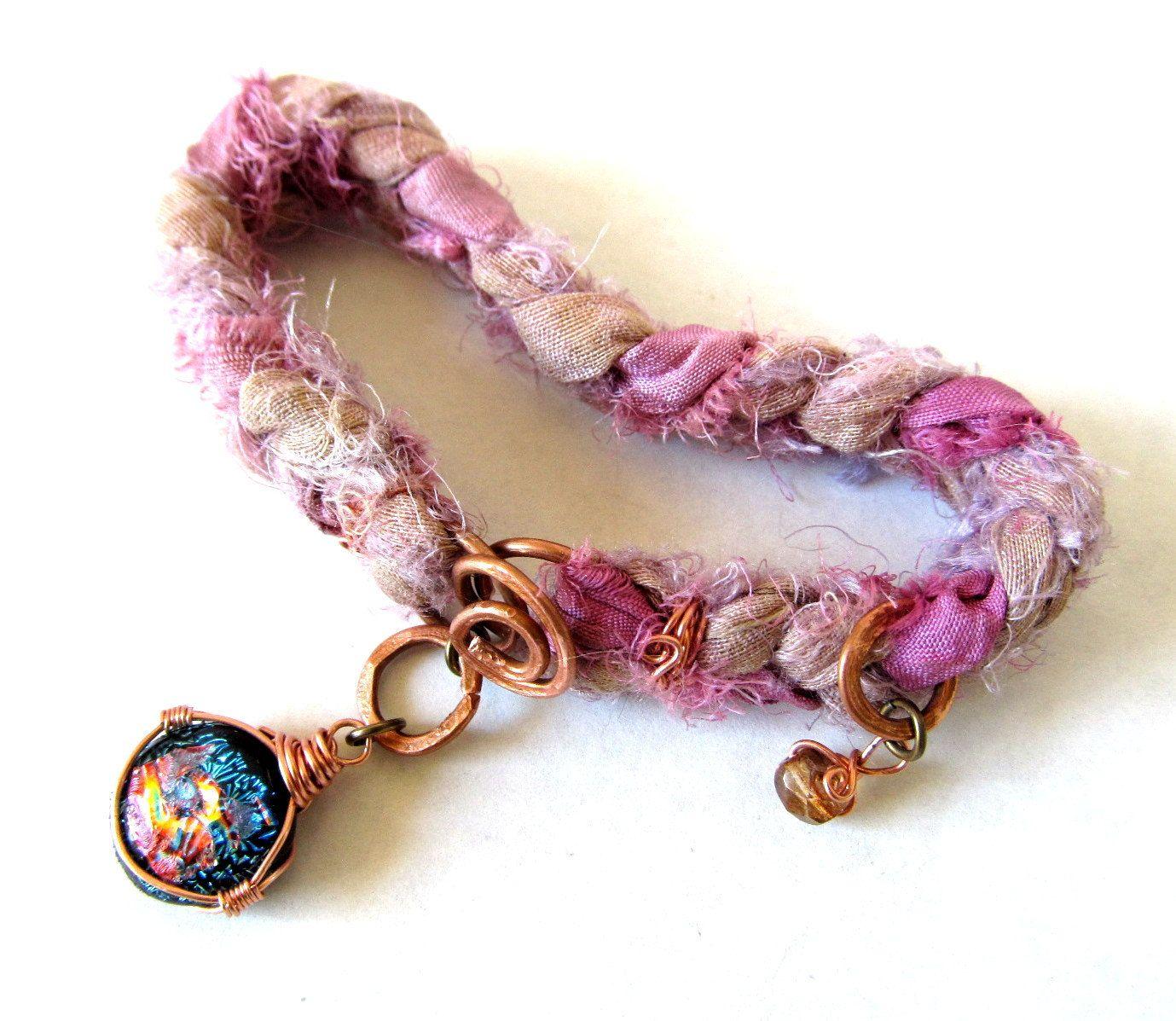 Raw Edge Sari Silk Ribbon Friendship Bracelet - Copper Wire Wrapped Fused Dichroic Glass Jewelry - Very Boho - Made in US Eco Friendly. $36.00, via Etsy.