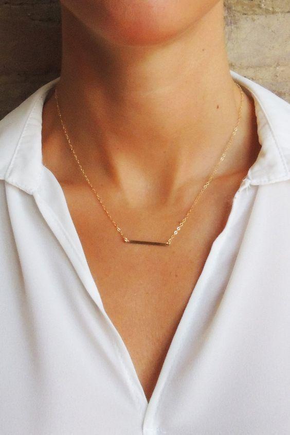 Photo of Flat Modern Horizontal Bar Necklace – Christine Elizabeth Jewelry