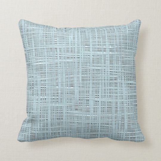 Photo of Spring Pastel Blue Faux Jute Fabric Weave Pattern Throw Pillow