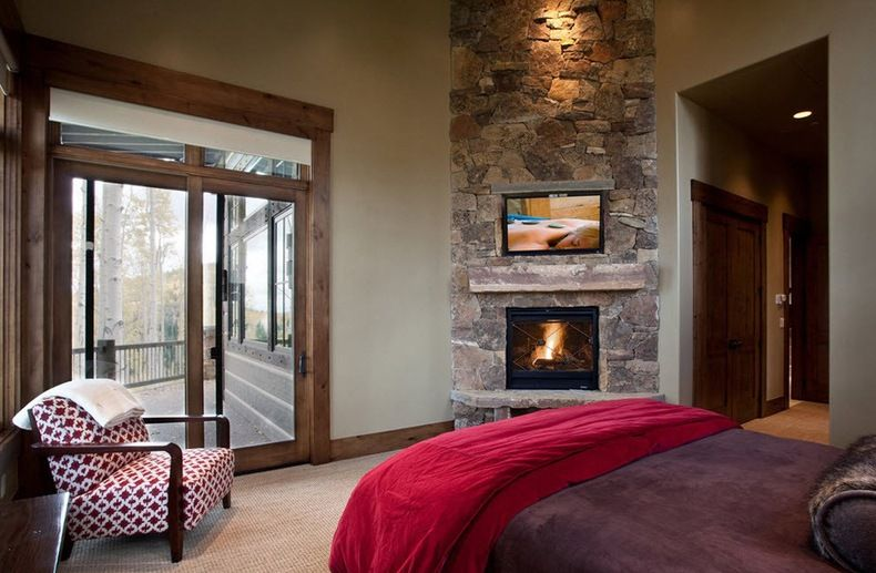 Bedroom Fireplace Design Fireplace From Stone Designed For Corner In The Bedroom  Wood