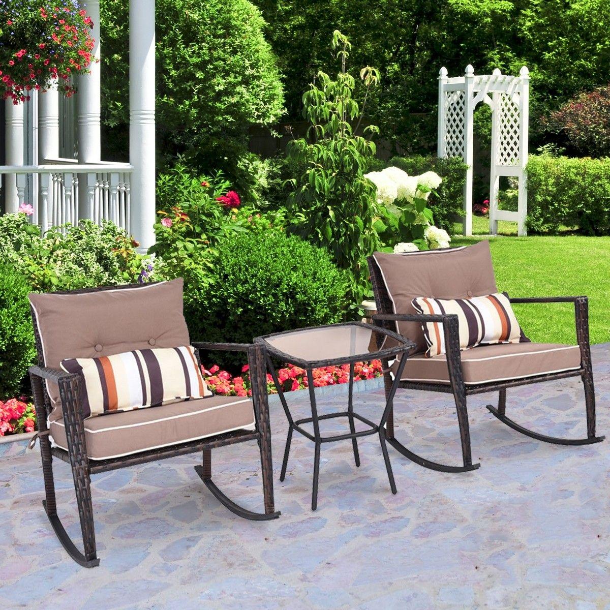 3 Pcs Patio Rattan Wicker Furniture Set Rocking Chair Coffee Table