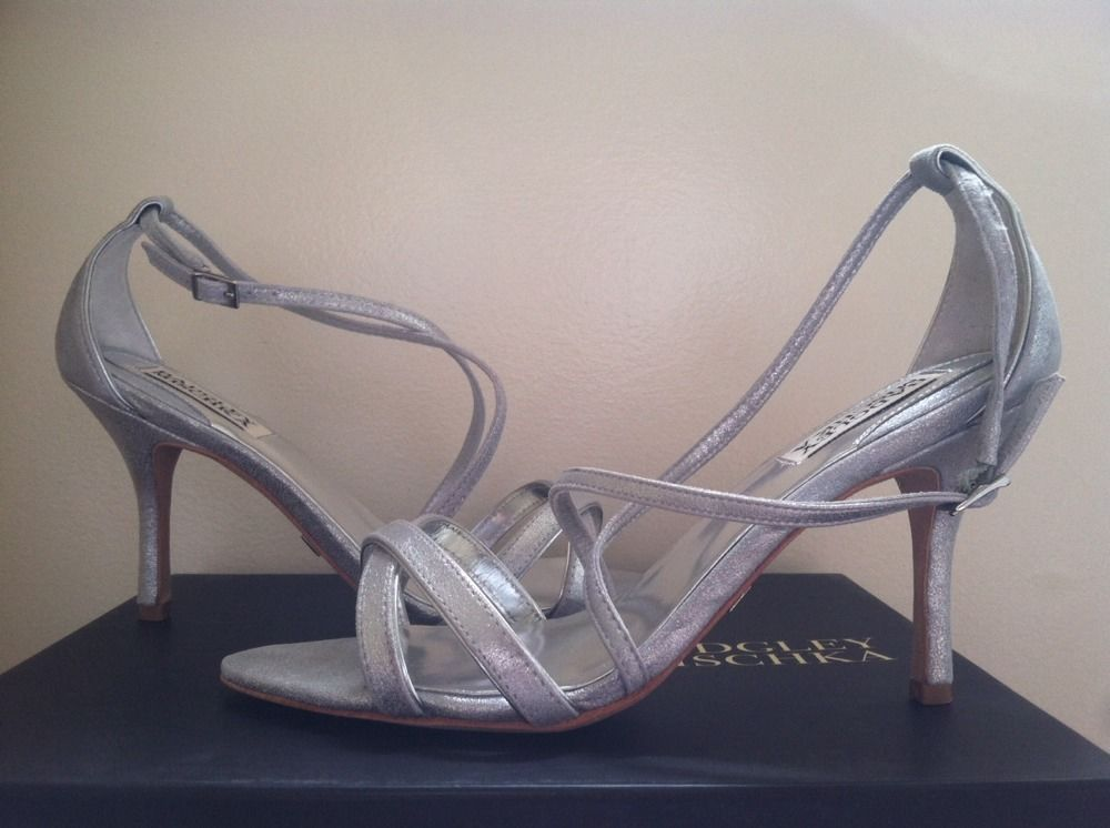 483af272c19 Badgley Mischka Walda Silver Women s dressy Evening Strappy Heels Sandals 8  M  BadgleyMischka  StrappyHeelsSandals  BridalorWeddingEveningFormal
