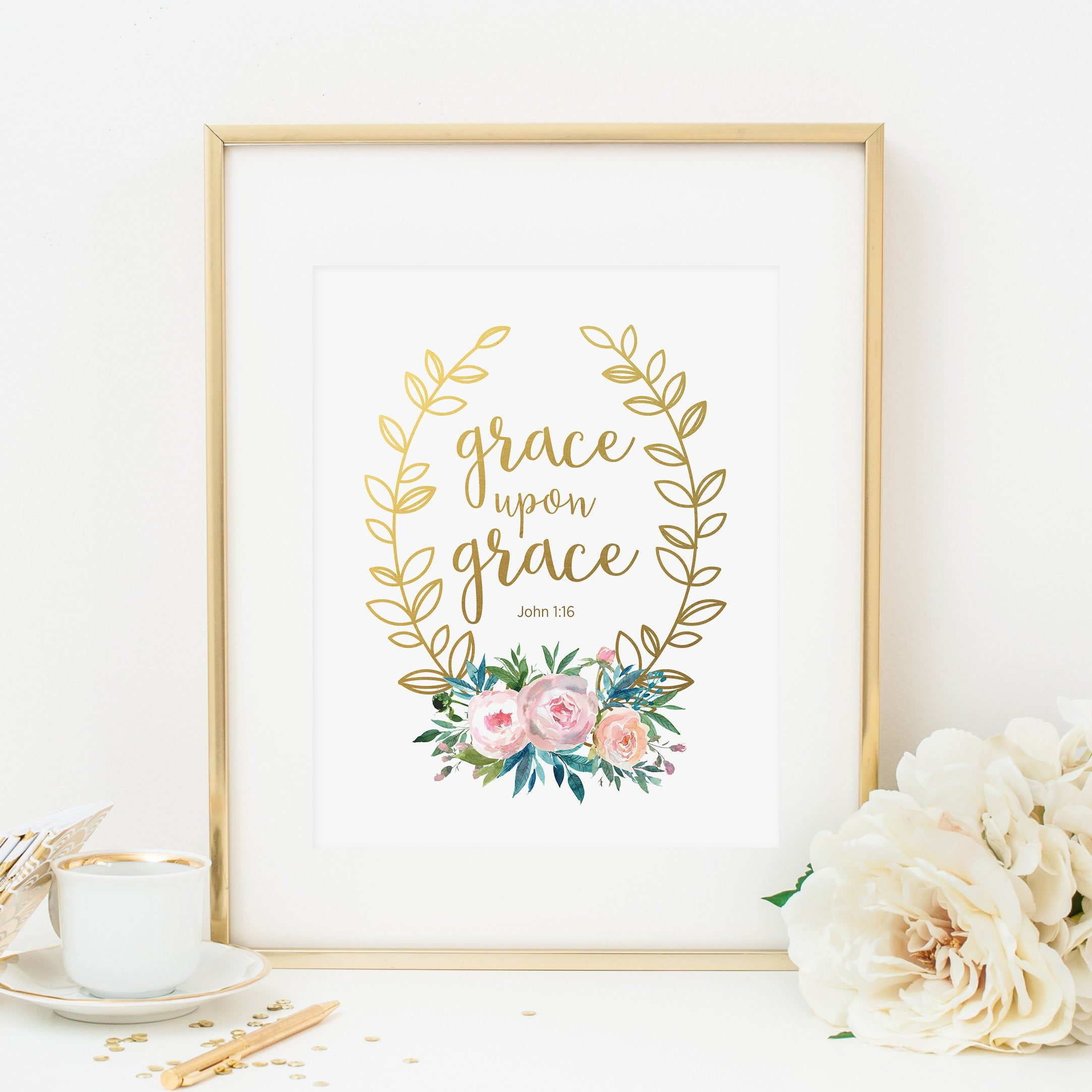 Grace Upon Grace Printable Scripture Wall Art John 1 16 Print