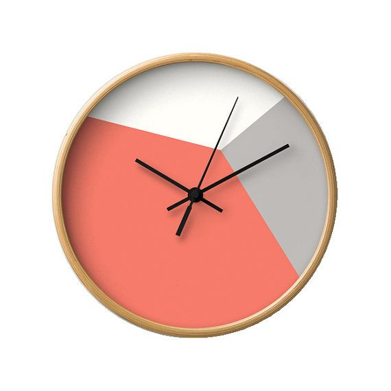 Teal Wall Clock Geometric Wall Clock Housewarming Gift Geometric Clock Teal And Orange Wall Clock Mid Century Wall Clock Mid Century Clock Wall Clock Grey Wall Clocks Red Wall Clock