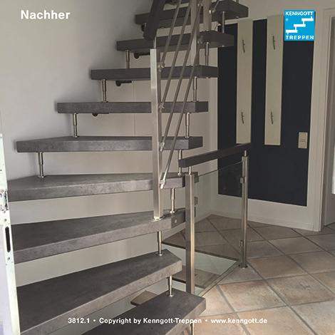 freitragende kenngott treppe 1 4 gewendelt terzo stufenmaterial schieferline longlife mit. Black Bedroom Furniture Sets. Home Design Ideas