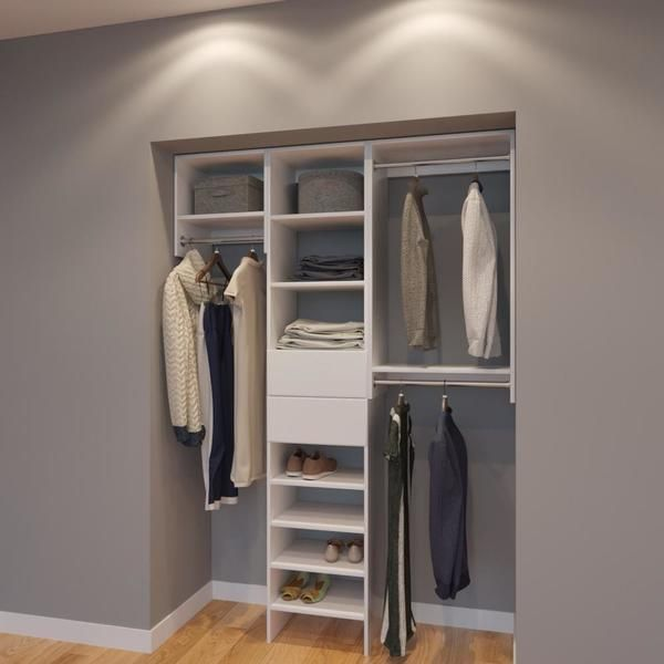 Modular Closets 5 Ft Closet Organizer System 60 Inch Style E This Contains All You Can Need In A With Plenty Of Hanging Shelves