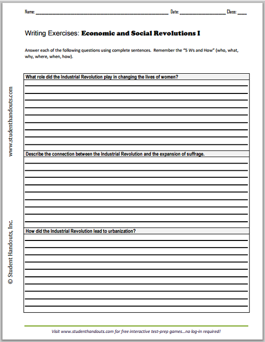 Persuasive Essay Samples High School Economic And Social Revolutions Essay Questions  Free Printable Writing  Exercises Worksheets Pdf Files For High School World History Students Example Of Essay Writing In English also How To Write A Proposal Essay Paper Economic And Social Revolutions Essay Questions  Free Printable  Simple Essays For High School Students