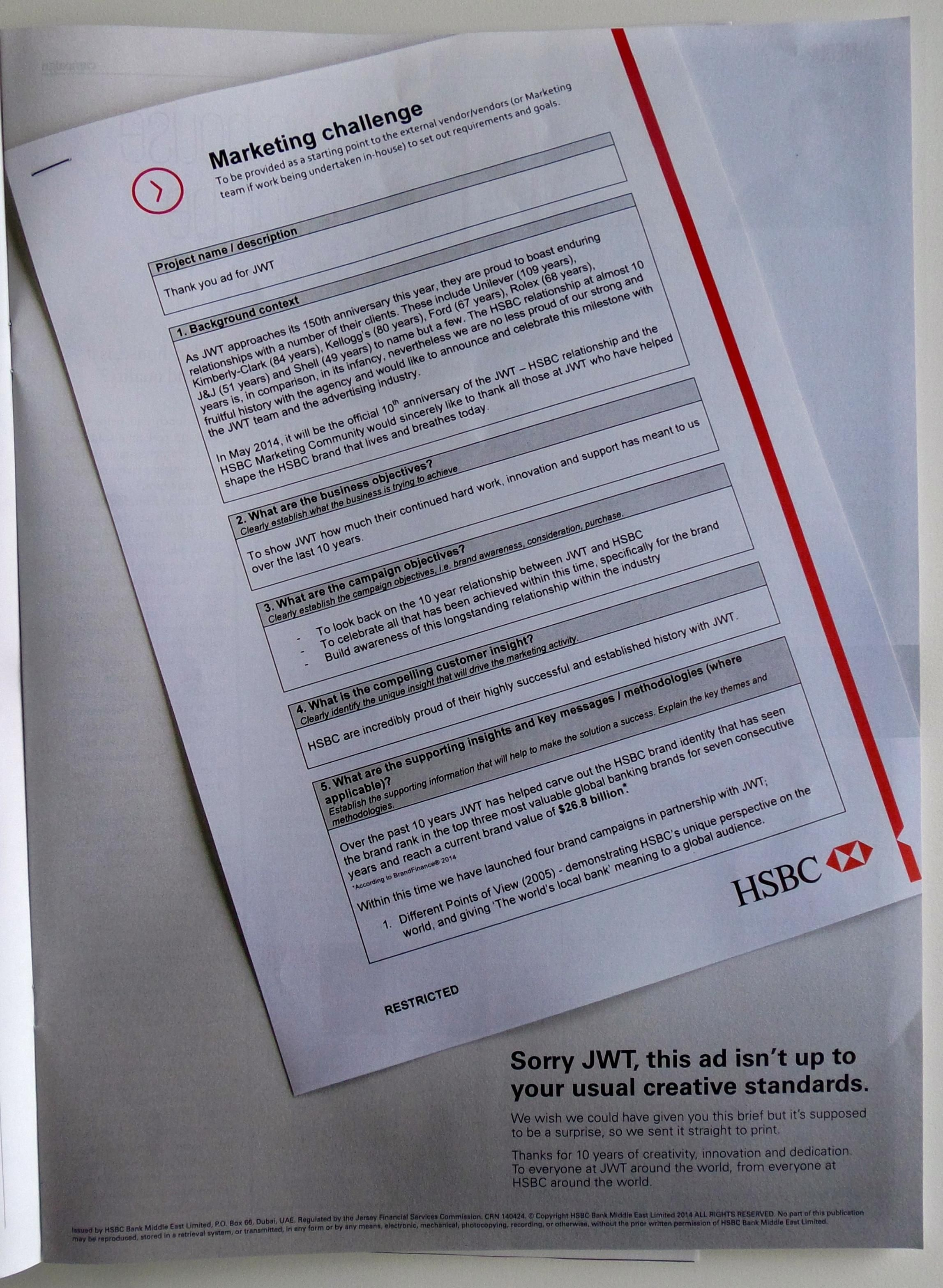 HSBC's thank you ad to JWT | Amazing ads | Personalized items, Ads