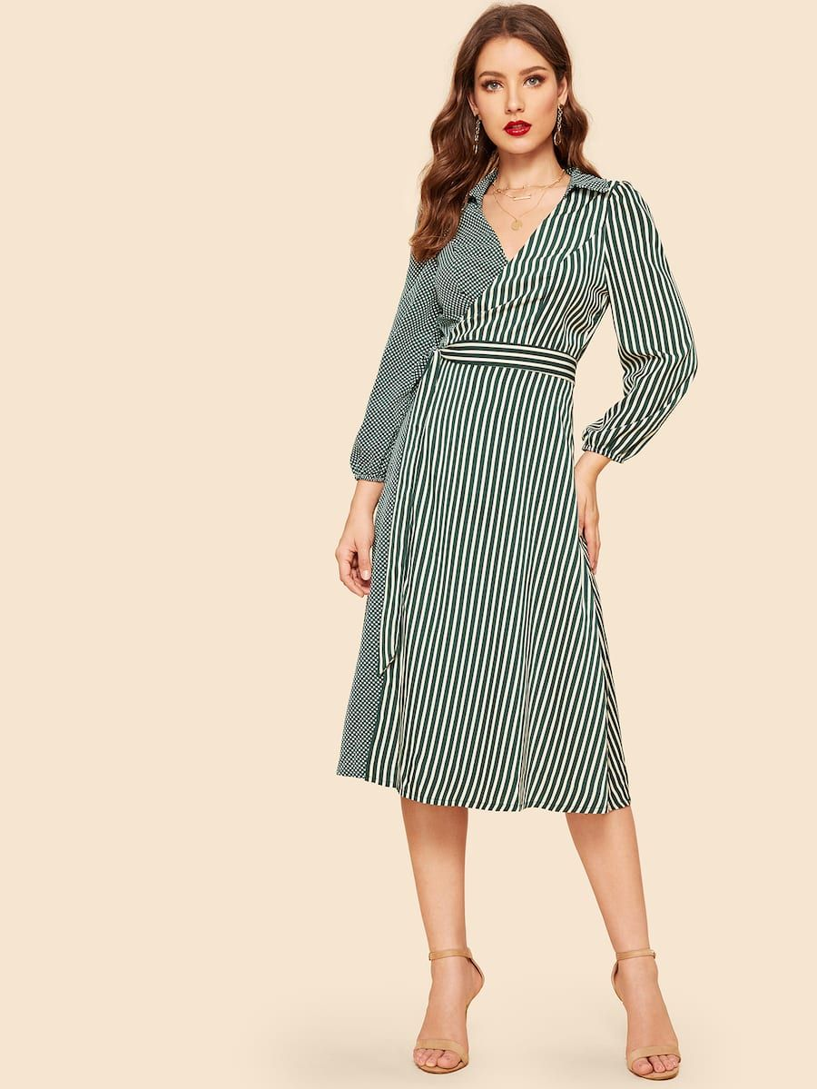 00034d7c8b3 Stripe   Polka Dot Print Belted Wrap Dress -SHEIN(SHEINSIDE)