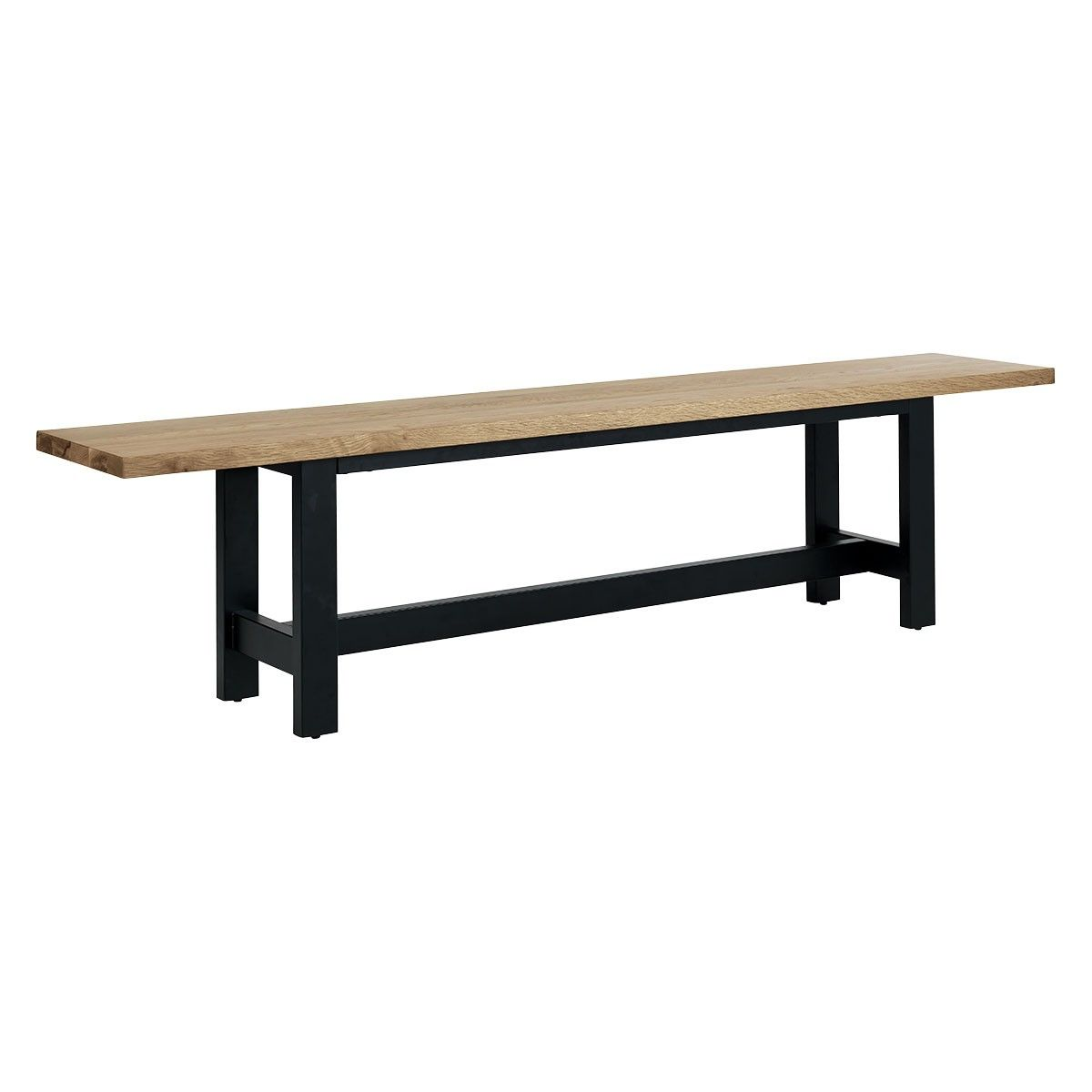 Pleasant Manford Solid Oak Dining Bench With Black Metal Frame In Alphanode Cool Chair Designs And Ideas Alphanodeonline