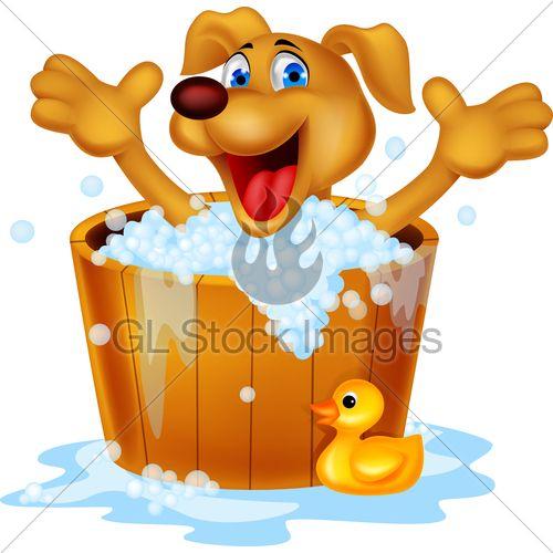 Vector Illustration Of Dog Cartoon Bath Time Cartoon Dog Dog