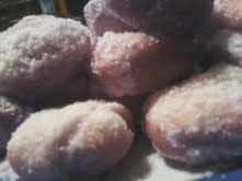 These are homeade doughnuts they taste amazing.1.Just deep fry them in a pot,or deep fryer of vegetable oil  2 at a time(they cook FAST!) 2.Drop them in a 1 cup of sugar bowl right after they deep fry! They are ready ENJOY!!