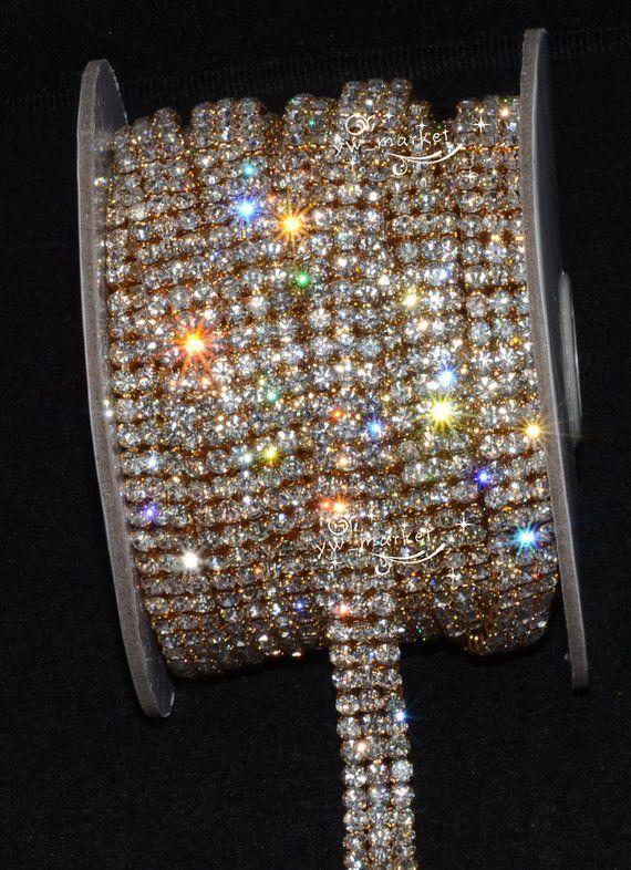 1 Yard 3 Row 4mm Rhinestone Gold Chain Cake Ribbon Trim Etsy Crystal Rhinestone Crystals Rhinestone