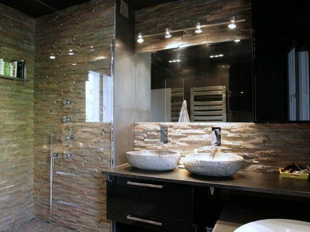 Salle de bain avec mur en pierre naturelle travaux Pinterest - les photos de salle de bain