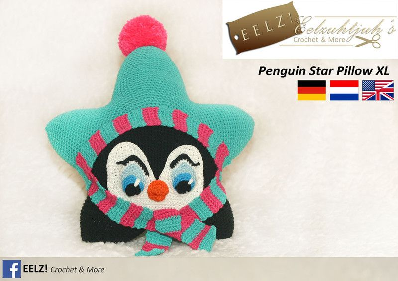 Ster+Kussen+Pinguin+XL+-+Haakpatroon+van+Eelz!+-+Eelzuhtjuh's+Crochet+&+More+op+DaWanda.com