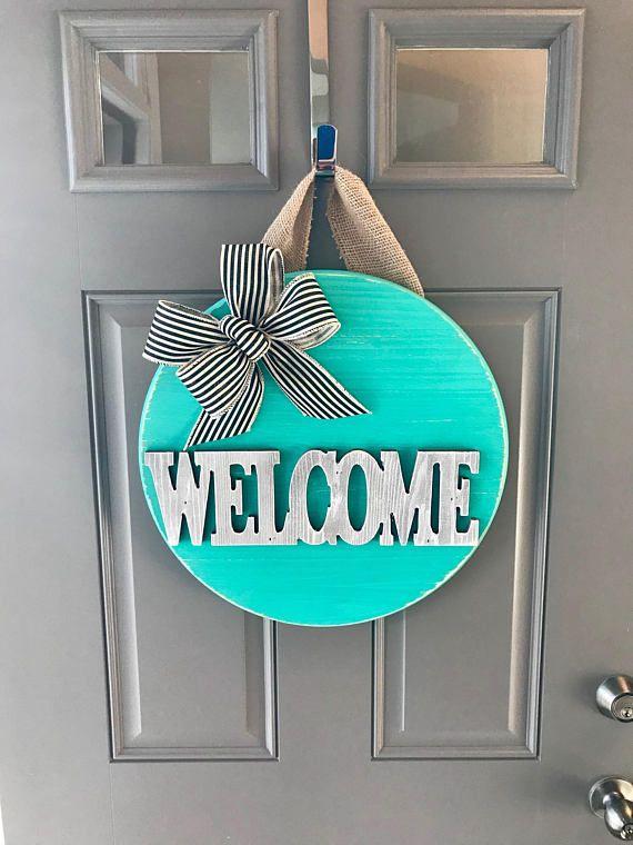 Welcome Sign Door Hanger Teal Decor Spring Wreath