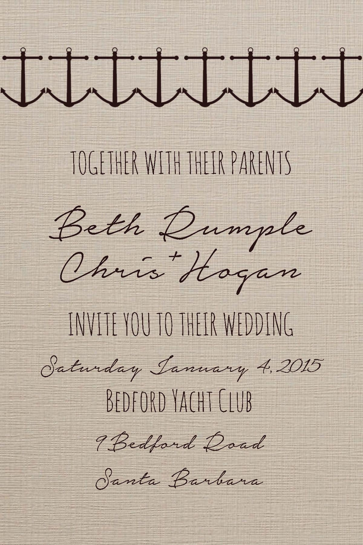 Nautical Wedding Invitation. Fonts Used- Amatic and Notera. | typo ...
