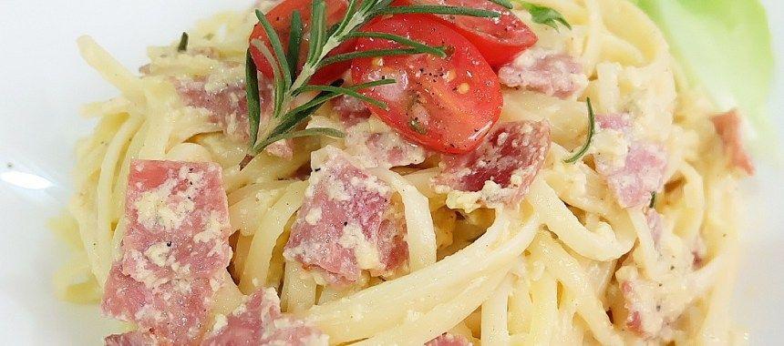 Fettucini Carbonara Gurih Dan Creamy Resep Resepkoki Resep Pasta Carbonara Daging Ham Makanan
