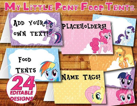 Printable My Little Pony Birthday Party Food Label Food Tent