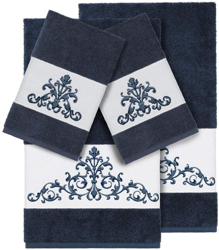 Linum Home Textiles 4 Piece Scarlet Embellished Bath Towel Set