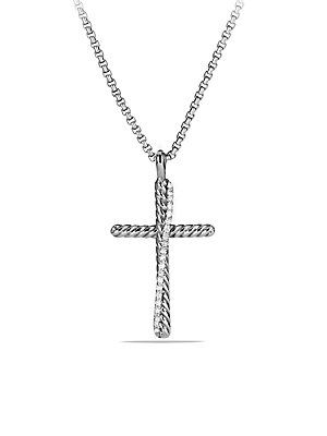 David Yurman Crossover Cross Necklace with Diamonds - Silver