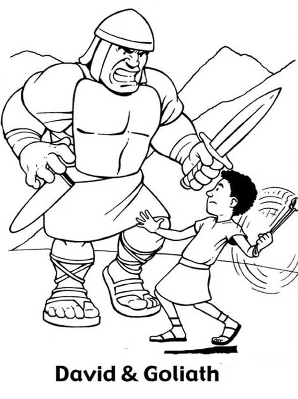 Great Battle David versus Goliath in the Bible Heroes Coloring Page ...
