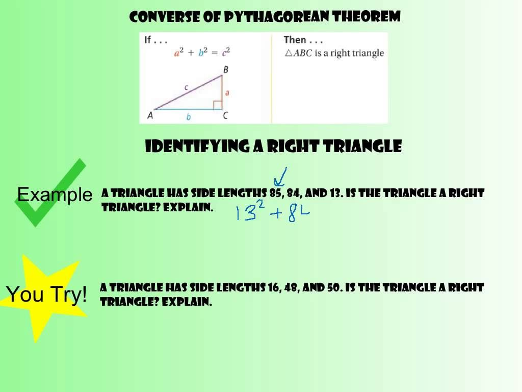 8 1 Pythagorean Theorem And Its Converse