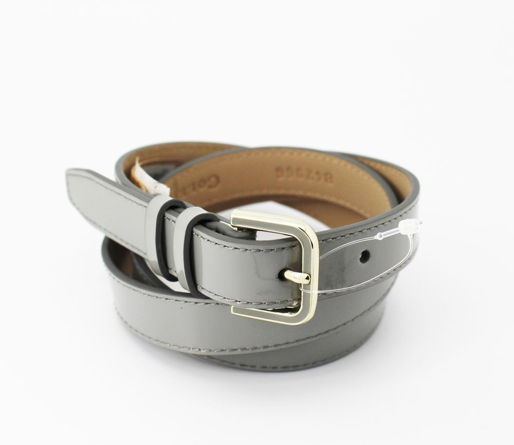 Cole Haan Paloma Skinny Patent Leather Belt Grey Women's Size M #ColeHaan