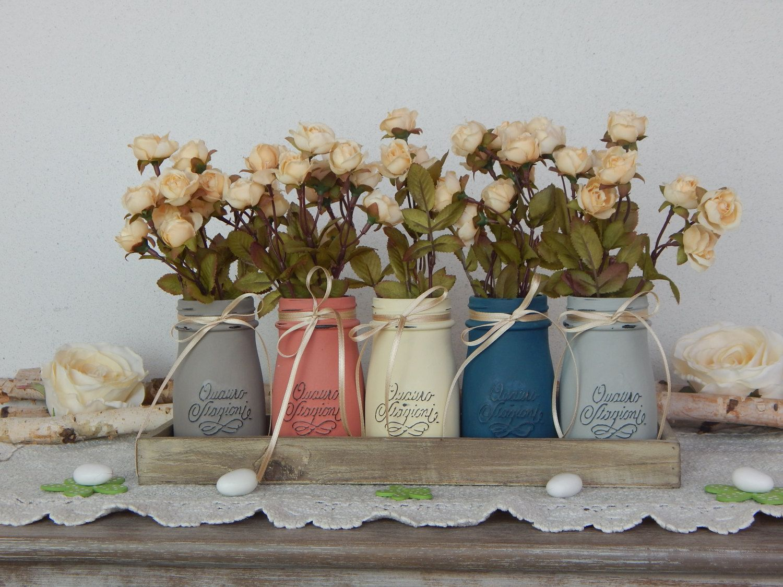 Vasi dipinti roselline primavera set 5 barattoli for Vasi di fiori dipinti