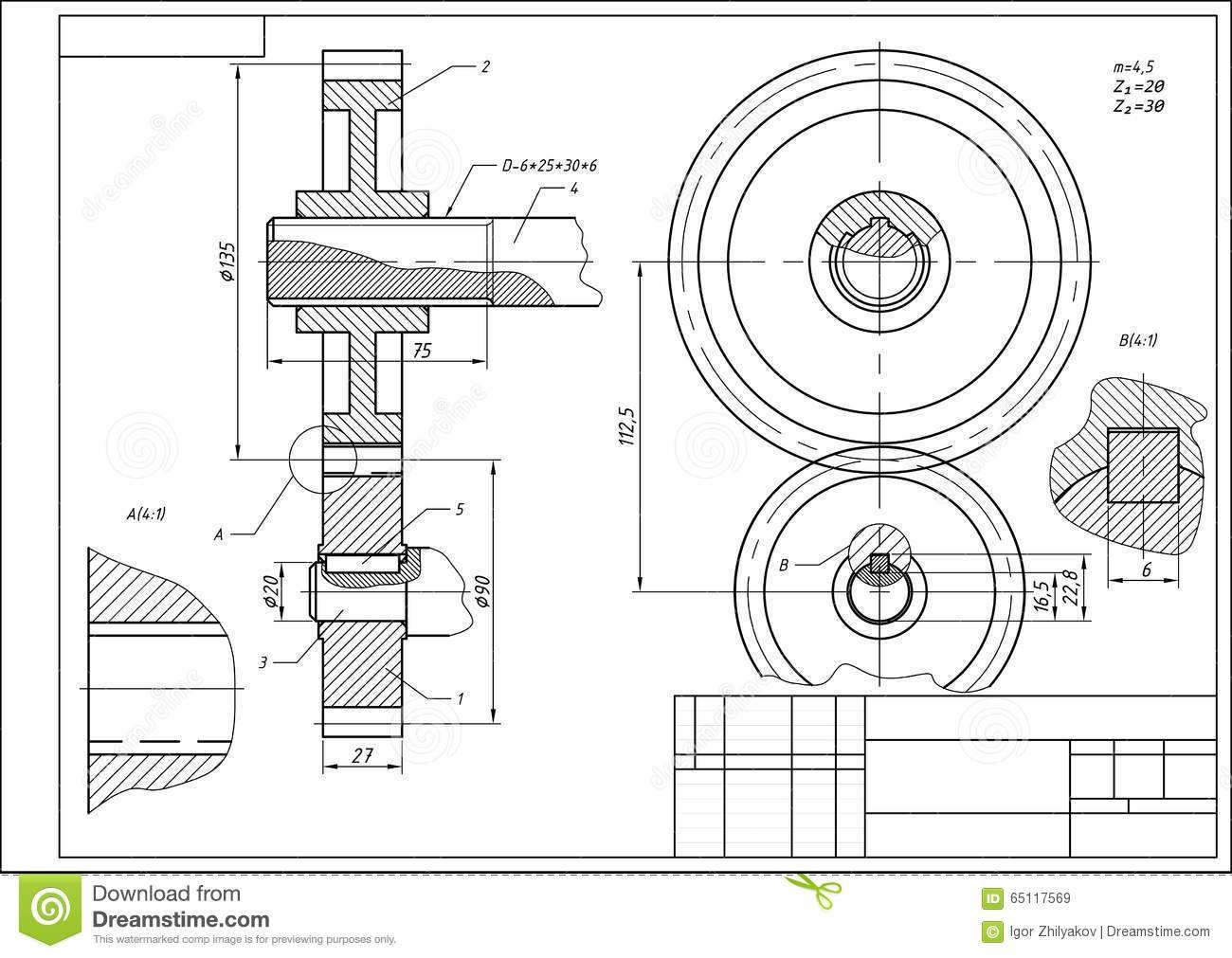 Resultado De Imagen Para Dibujo Tecnico Engranajes Tecnicas De Dibujo Engranajes