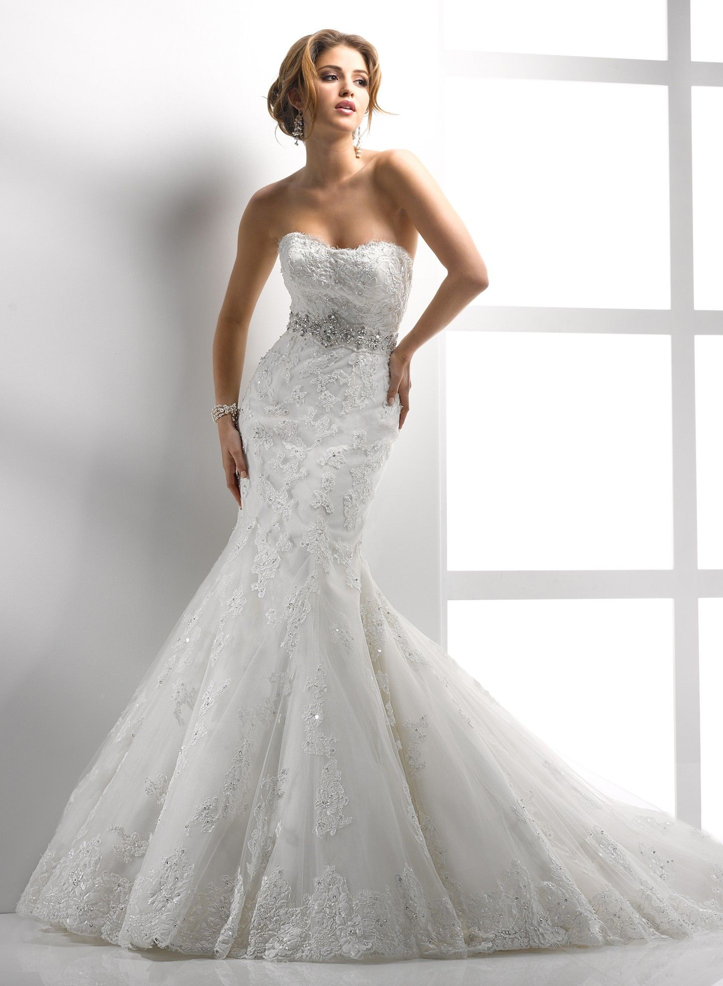 Embellished corded lace and tulle strapless scoop neckline for Trumpet mermaid sweetheart wedding dress