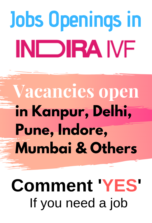 Job Vacancy One of our leading partner Indira IVF Hiring for