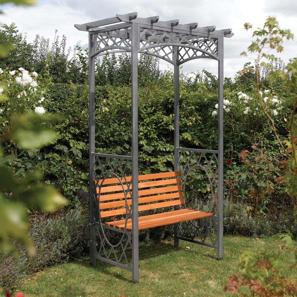 Wooden Metal Garden Arbour Bench Seat