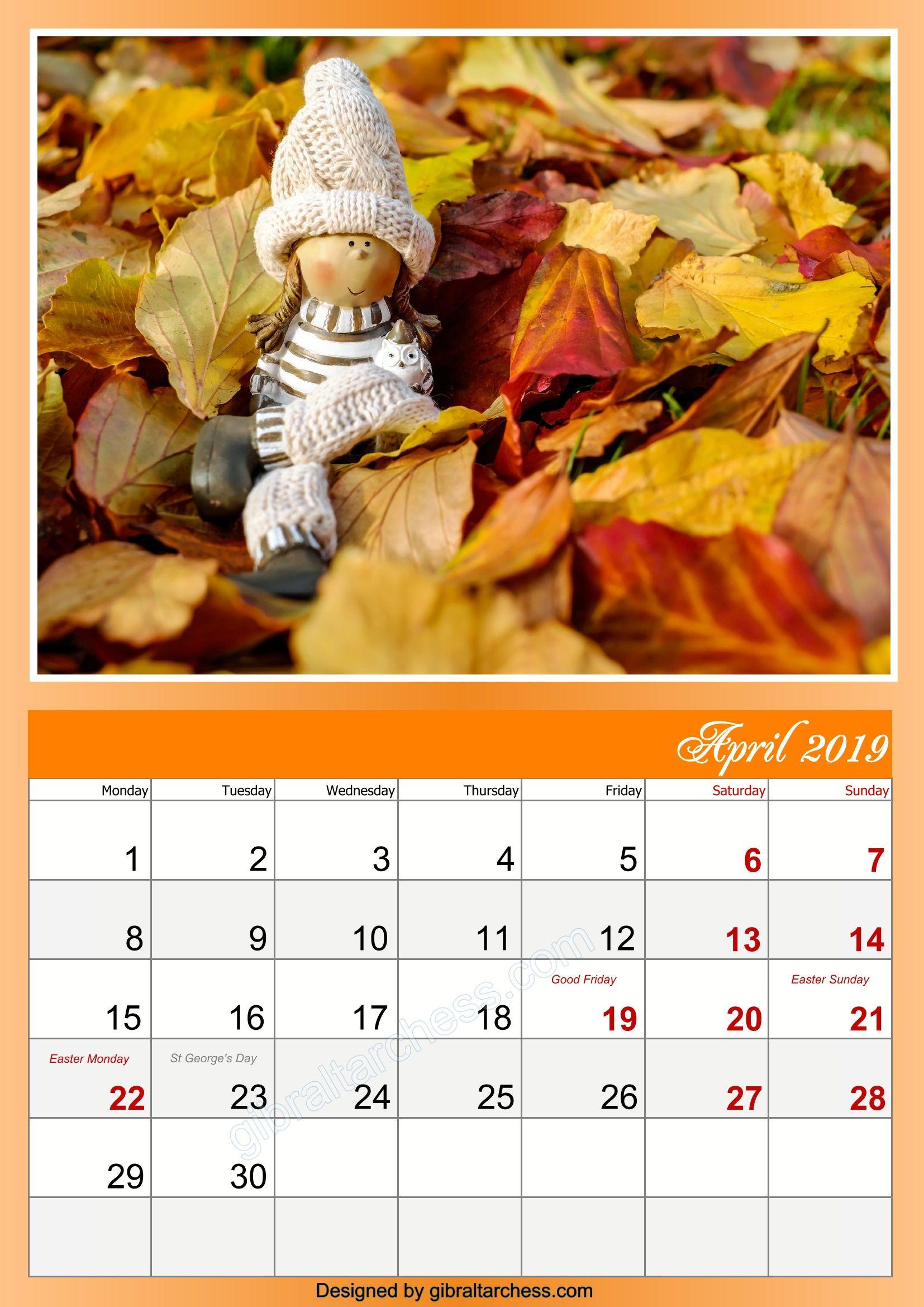 autumn april 2019 calendar with holidays cute