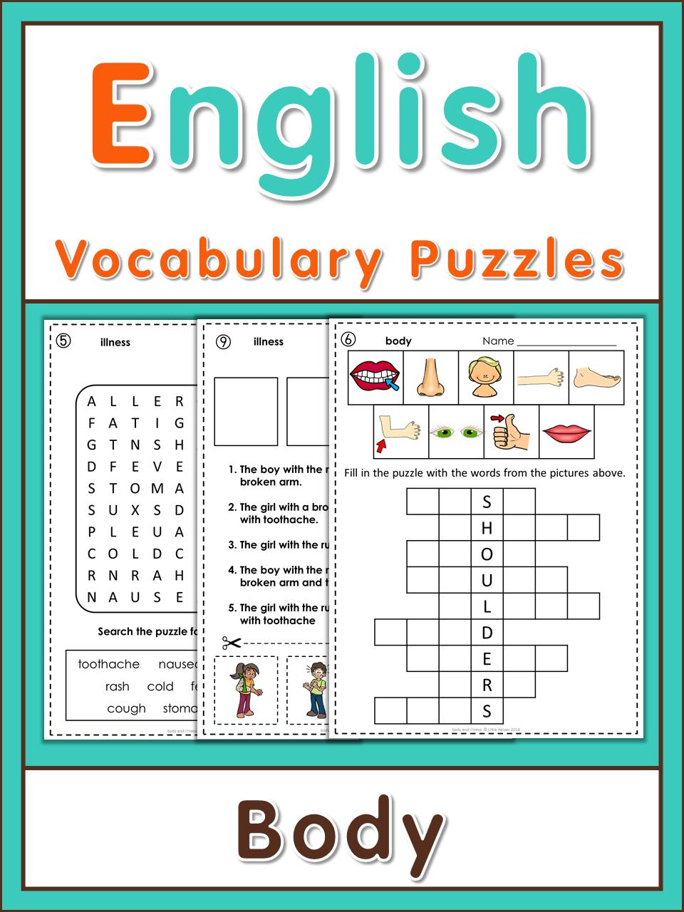 ESL Vocabulary Puzzles - Body & Illness | děti ANGLIČTINA ...