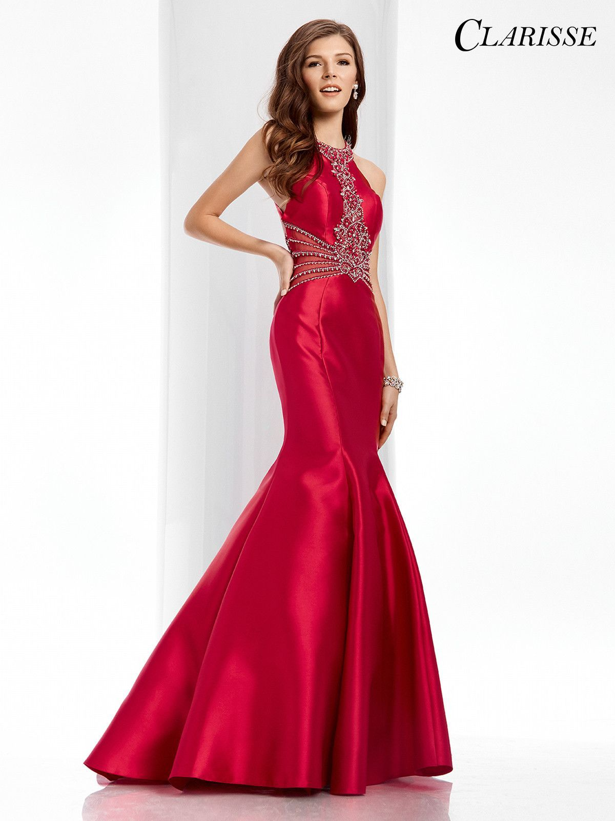 Clarisse prom cranberry open back prom dress products